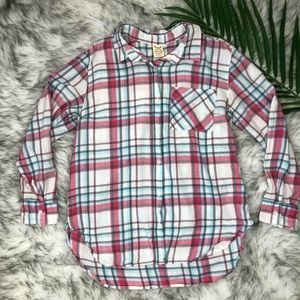 Faded Glory Womens Plaid Flannel Button Down Med